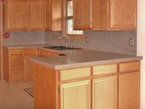 Customers kitchen cabinets before refinishing